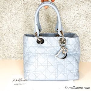 Dior Lady Dior Baby Blue bag with silver hardware